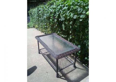 Wicker/Tempered Glass Top Table