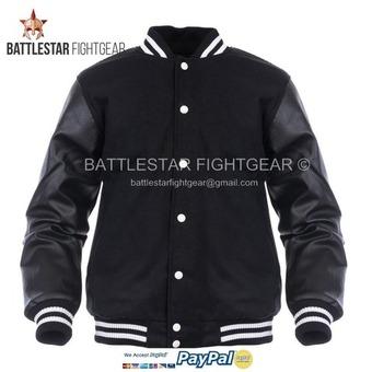 Black Wool Varsity Letterman Bomber Jacket Real Pure Leather Sleeves White Rib